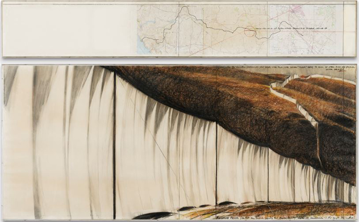 Christo 1976 Pastel, wax, crayon, graphite and printed paper collage on papaer 146 x 244 cm 1