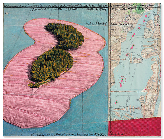 Christo 1983 Acrylic, wax crayons, penicl, map, fabric and enamel paint on card 71 x 84 cm 2