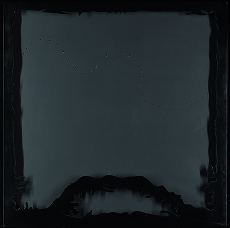 Lucio Fontana 1966 Black water-based paint on canvas and black lacquered wood 100 X 100 cm 1