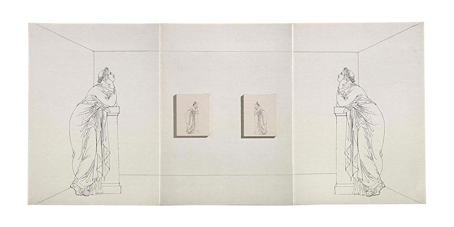 Giulio Paolini 1977-1978 Pencil and photo emulsion on canvas 3 pieces 110 x 80 cm Overall dimension 110 x 240 cm 1